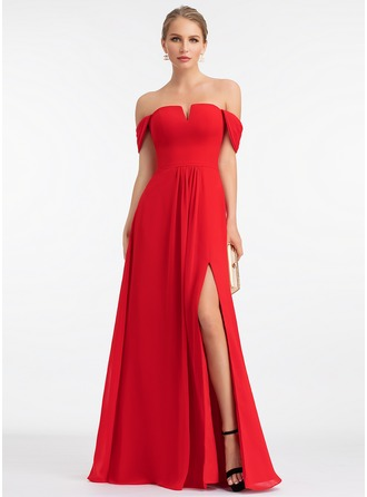 Off-the-Shoulder Floor-Length Chiffon Evening Dress With Split Front