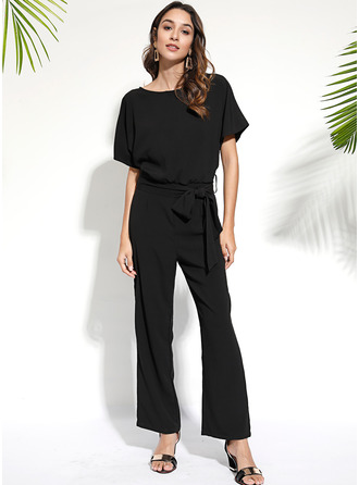 Solid A-line Round Neck Short Sleeves Maxi Casual Jumpsuits Dresses
