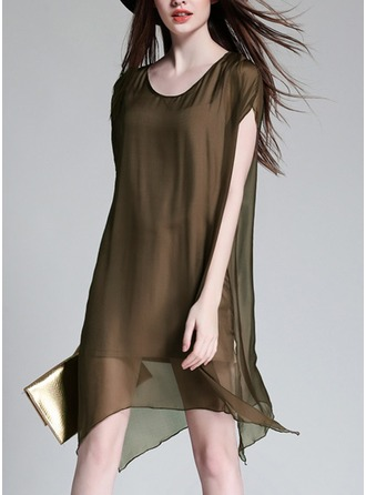 Silk With Stitching/Resin solid color Above Knee Dress