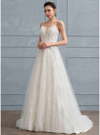 A-Line/Princess Sweep Train Tulle Lace Wedding Dress With Beading Flower(s) Sequins