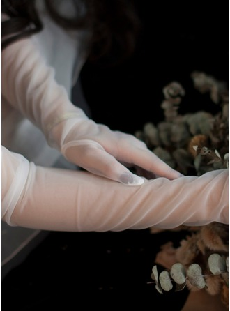 Tulle/Imitation Pearls Elbow Length Bridal Gloves