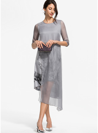 Cotton With Print/Slit Asymmetrical Dress