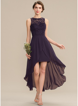 Scoop Neck Asymmetrical Chiffon Lace Bridesmaid Dress