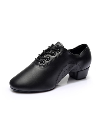 Men's Leatherette Sneakers Latin Ballroom Practice Character Shoes With Lace-up Dance Shoes