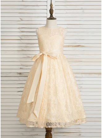 Tea-length Flower Girl Dress - Lace Sleeveless Scoop Neck With Bow(s) Back Hole