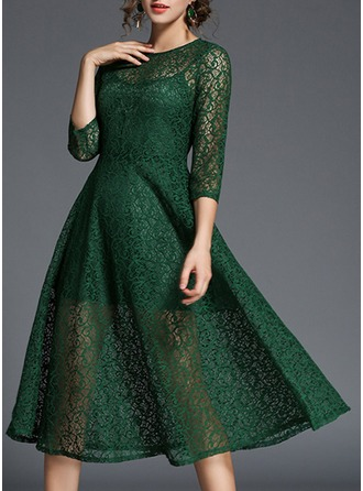 Lace With Stitching/Hollow Knee Length Dress