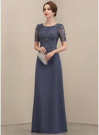 Scoop Neck Floor-Length Chiffon Lace Evening Dress