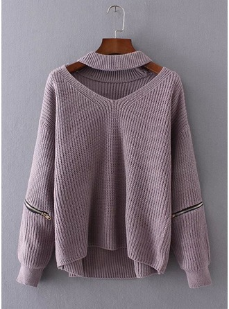 Plain Knit V-neck Sweater Sweaters
