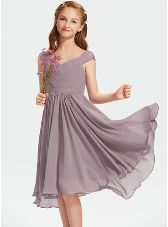 V-neck Knee-Length Chiffon Lace Junior Bridesmaid Dress With Ruffle