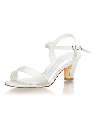 Women's Silk Like Satin Chunky Heel Peep Toe Sandals With Others