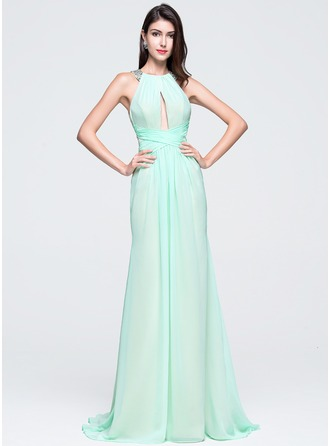 Trumpet/Mermaid Scoop Neck Sweep Train Chiffon Prom Dress With Ruffle Beading Sequins