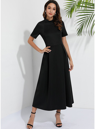 Polyester med Solid Midi Kle