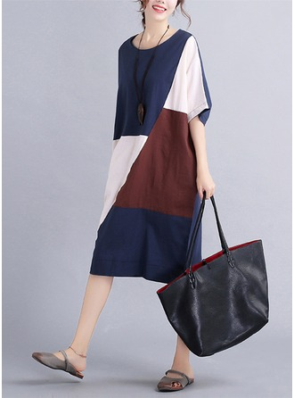 Cotton/Linen With Stitching Knee Length Dress