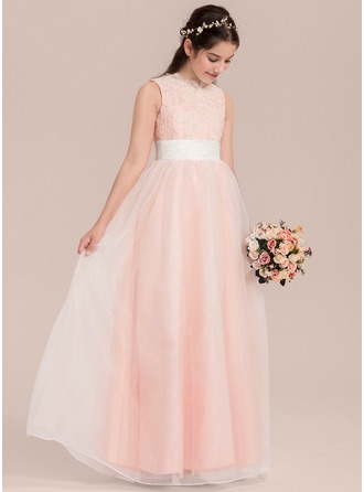 Floor-length Flower Girl Dress - Organza Lace Sleeveless V-neck