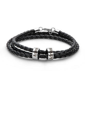 Custom Platinum Plated Men Braided Leather Bracelets With Custom Beads In Silver - Gifts For Him