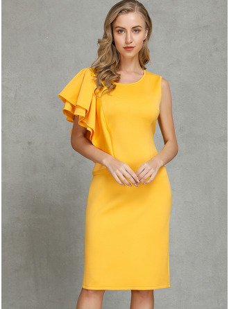 Cotton/Chinlon With Ruffles/Solid Knee Length Dress