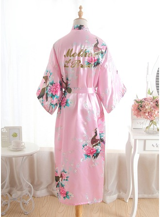 Silk Mom Floral Robes Glitter Print Robes