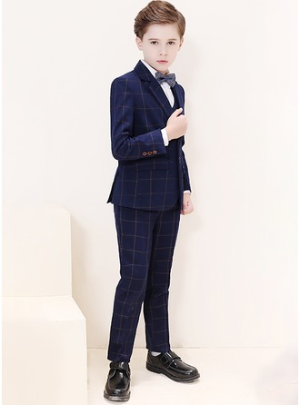 Boys 5 Pieces Plaid Ring Bearer Suits /Page Boy Suits With Jacket Shirt Vest Pants Bow Tie