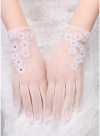 Lace Wrist Length Bridal Gloves With Floral