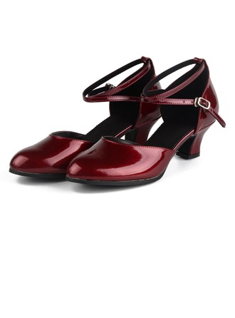 Women's Patent Leather Pumps Modern Jazz Ballroom Salsa Party Tango With Ankle Strap Dance Shoes