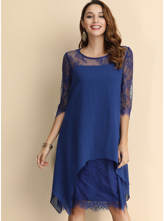 Lace/Viscose With Lace Knee Length Dress