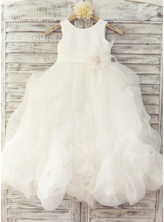Floor-length Flower Girl Dress - Organza Sleeveless Scoop Neck With Flower(s) Bow(s)