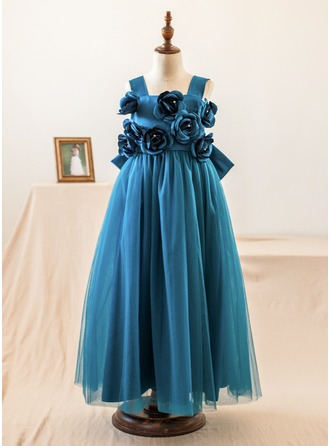 A-Line/Princess Floor-length Flower Girl Dress - Satin/Tulle Sleeveless Straps With Flower(s)/Bow(s)