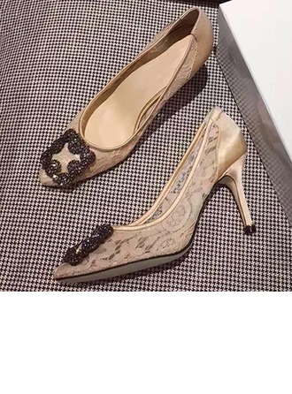 Femmes Dentelle Talon stiletto Bout fermé Beach Wedding Shoes avec Strass
