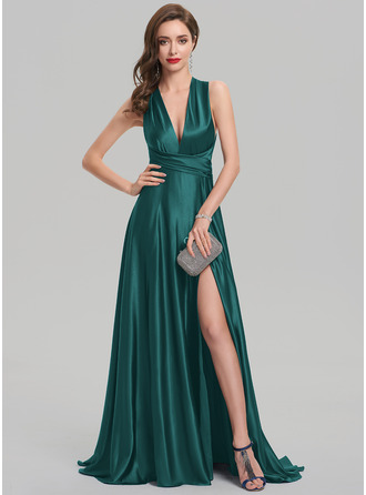 V-neck Sweep Train silk like satin Evening Dress With Split Front