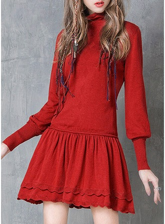 Knitting With Hollow/Ruffles Above Knee Dress