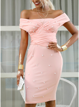 Solid Beaded Bodycon Off the Shoulder Short Sleeves Midi Elegant Party Pencil Dresses