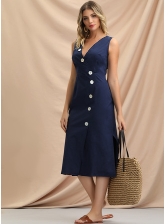 Polyester With Button/Resin solid color Midi Dress