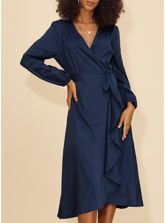 Polyester With Ruffles/Solid Midi Dress