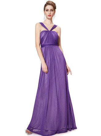 Chiffon/Satin With Ruffles Maxi Dress