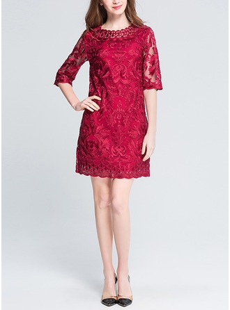 Lace With Lace/Resin solid color Above Knee Dress