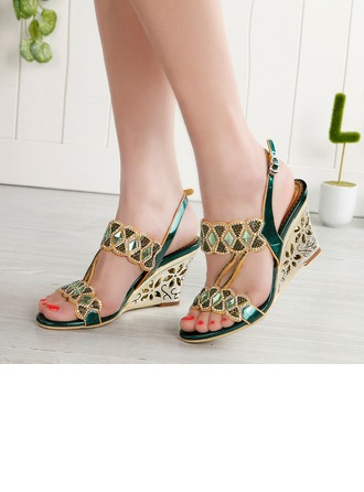 Women's Leatherette Wedge Heel Peep Toe Pumps Sandals Slingbacks Wedges With Buckle Rhinestone