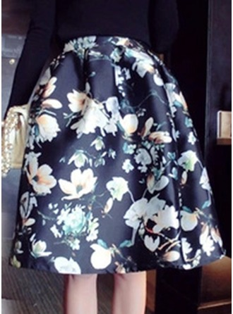 A-Line Skirts Knee Length Floral Polyester Skirts