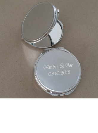 Personalized Round Chrome Compact Mirror