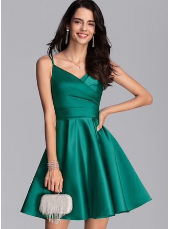 V-neck Short/Mini Satin Prom Dresses With Ruffle Pockets