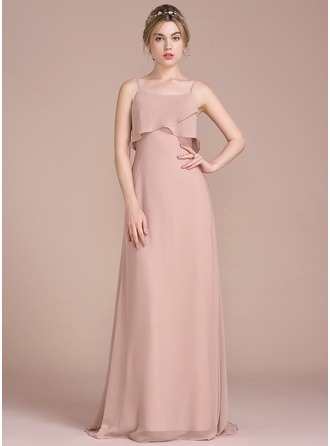 A-Line/Princess Sweep Train Chiffon Bridesmaid Dress With Cascading Ruffles