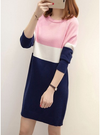 Cotton Round Neck Color Block Sweater