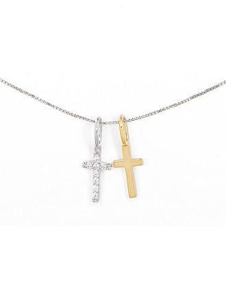 Silver Cubic Zirconia Religious Cross Cross Necklace For Women For Girlfriend