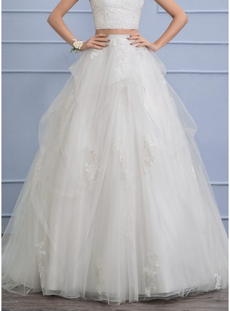 Separates Chapel Train Tulle Wedding Dress With Appliques Lace Cascading Ruffles