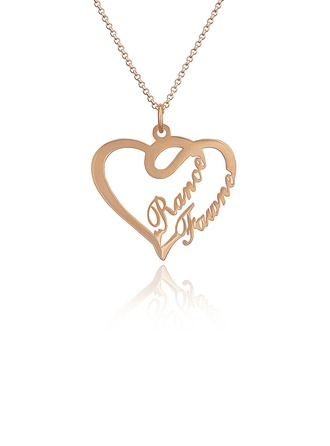 Custom 18k Rose Gold Plated Silver Heart Two Name Necklace