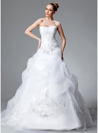 Ball-Gown Sweetheart Chapel Train Satin Organza Wedding Dress With Embroidered Ruffle Beading Sequins