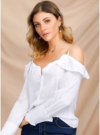 Long Sleeves Polyester Spaghetti Straps Blouses