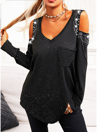 Regular Cotton Blends Cold Shoulder Print Sequins Fitted Blouses