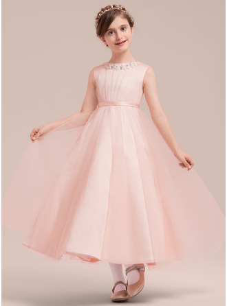 A-Line/Princess Ankle-length Flower Girl Dress - Satin Tulle Sleeveless Scoop Neck With Beading Bow(s)