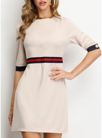 Striped A-line Round Neck 1/2 Sleeves Midi Casual Elegant Skater Dresses
