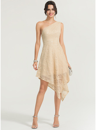 One-Shoulder Asymmetrical Lace Cocktail Dress